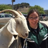 Linda Hernandez with a goat.