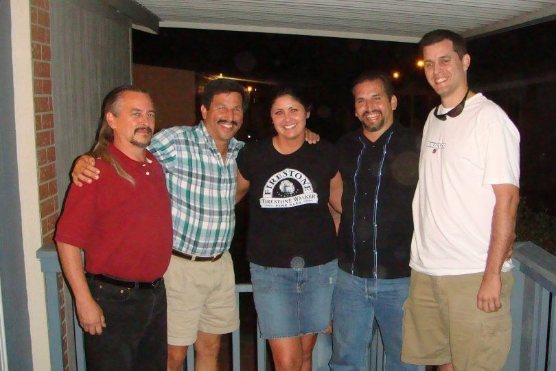 Photo of Mike, Danny, Christie, Mark & Kevin Perez on the porch of Betty Perez' mobile home in Sacramento, CA, on the night before Kevin & Christie's wedding.