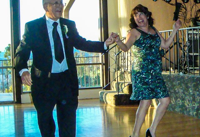 Luis M. Perez dancing with daughter Alicia Perez Vargas on 22 March 2009.